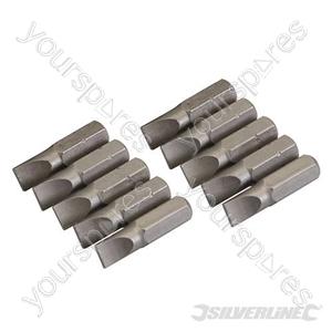 Slotted Cr-V Screwdriver Bits 10pk - Slotted 6mm