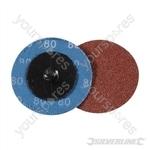 50mm Quick-Change Sanding Discs Set 5pce - 80 Grit