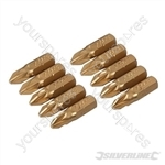 Pozidriv Gold Screwdriver Bits 10pk - PZ2