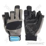 Part Fingerless Mechanics Gloves - Large