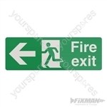 Fire Exit Left Arrow Sign - 400 x 150mm Self-Adhesive