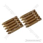 Pozidriv 50mm Gold Screwdriver Bits 10pk - PZ2