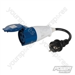 16A Schuko Plug to 16A CEE 230V Socket Fly Lead Converter - 230V 3-Pin