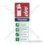 Dry Powder Fire Extinguisher Sign - 202 x 82mm Rigid