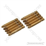 Pozidriv 50mm Gold Screwdriver Bits 10pk - PZ3