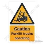 Caution Forklift Trucks Sign - 200 x 300mm Rigid