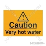 Caution Very Hot Water Sign - 75 x 50mm Self-Adhesive