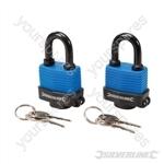 Keyed Alike Weather-Resistant Padlocks 2pk - 48mm