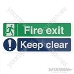 Fire Exit Keep Clear Sign - 450 x 200mm Self-Adhesive