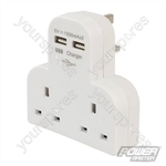 Dual Socket T Adaptor with Twin USB - 2100mAh Combined