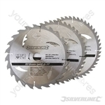 TCT Circular Saw Blades 24, 40, 48T 3pk - 230 x 30 - 25, 20, 16mm Rings