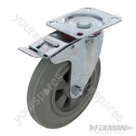 Heavy Duty Braked Rubber Castor - 200mm 200kg